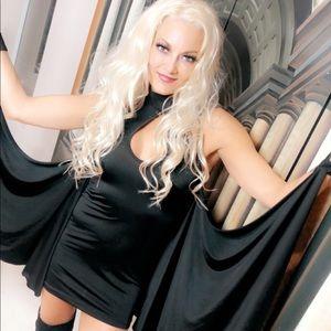 Black mini 🦇 dress worn on Talk of Love Podcast